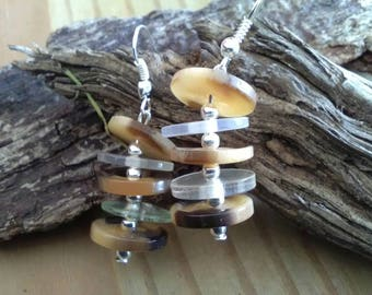 Brown & Clear Button Dangle Earrings