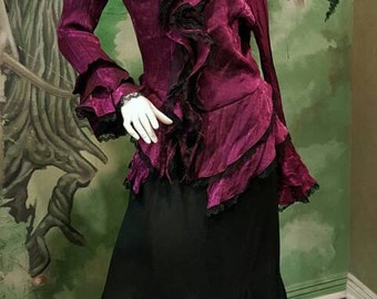 Gothic Witch  Black Skirt Cranberry Shimmer Crinkle Blouse with lace trim Women Size Medium Polyester Victorian Witch  Night Out Clothing
