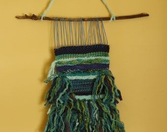 Ocean weave wall hanging in yarn