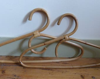 Hangers bamboo vintage set of 2 bamboo rattan hangers-on - lot of 2