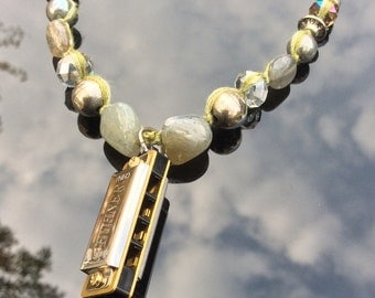 Harmonica Necklace - Labradorite and Brass