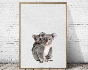 koala print, Nursery wall art, koala and baby photography, baby koala printable art, nursery wall decor, kids bedroom,koala digital download