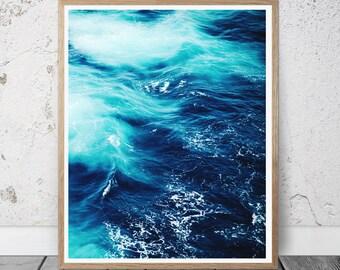 ocean print sea photography sea foam wall art sea waves print ocean photography blue sea print nautical decor modern minimal wall art