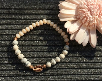 Pearl bracelet seashell rose gold