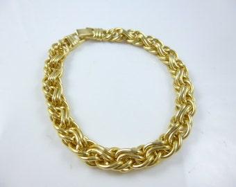 Gold Plated Bracelet,  Link Bracelet, Round Link Bracelet, Vintage
