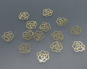 30pcs 12mm 24K Gold Plated Flower Charms,Flower Pendant, Brass Charms,Jewelry Findings