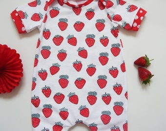 Strawberries short one piece Romper, girls romper, toddler, handmade, romper, newborn,fruit print, summer romper, short romper, fruit romper