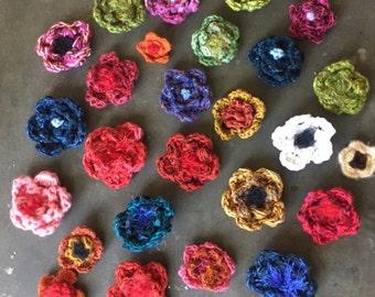 Crochet flower pins