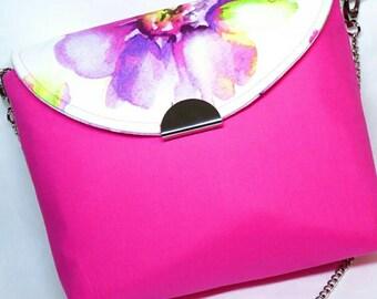 Pink purse - pink flowers - flower purse - hot pink purse - pink shoulder bag - spring purse - fuschia shoulder bag - pink - gift for Mom