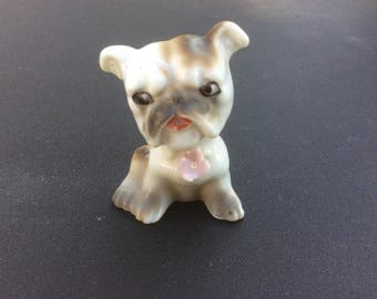 Vintage Bulldog with Flower Figurine - Japan