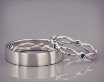 14K White Gold Eternity Wedding Rings set with Sapphire   Handmade 14k white gold celtic wedding Rings   His and Hers Wedding Bands Set