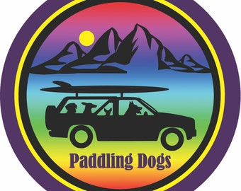 Rainbow Paddling Dogs decal - High Grade Air release multi-color Vinyl