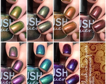 Full 6-piece Midnight Masquerade collection with Free polish, Lady Of The Mask - BLUSH Lacquers