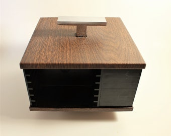 Small Retro Cassette Holder Spinning Caddy ~ Lazy Susan Style ~ Faux Wood Grain With Silver Handle ~ Storage on Four Sides.  Compact.  Nice!
