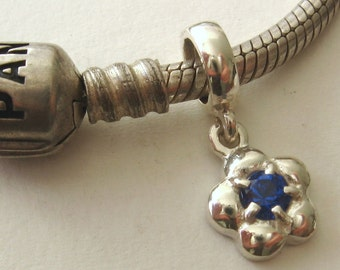 925 Sterling Silver Bead with DAISY SAPPHIRE DROP