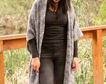 Handcrafted Andean alpaca shawl, ruana, women poncho-style