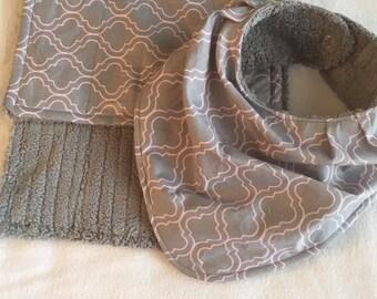 Baby Bib and Burp Cloth Set, Bandana Bib, Burp Cloth