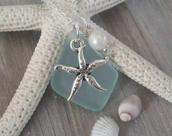 Handmade in Hawaii, Seafoam sea glass necklace,Sea starfish charm ,Fresh water pearl, 925 sterling silver chain, gift box, Hawaii jewelry .