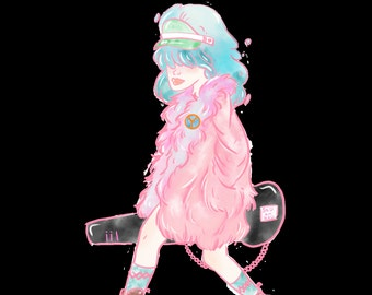 Bubble Rocker girl Sticker