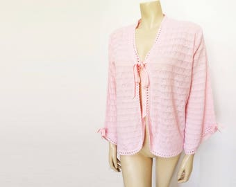 Vintage Bed Jacket, Pink, Vintage Clothing, Ladies Nightwear, PinUp, Clothing, Boho, Cardigan