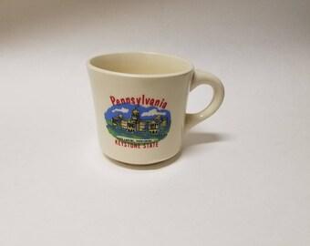 "Vintage Pennsylvania ""Keystone State"" Souvenir Mug Harrisburg Made in USA"