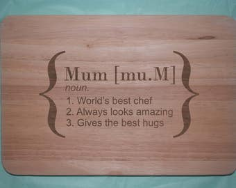 Laser engraved wooden Mother's Day Chopping board (Design 8)
