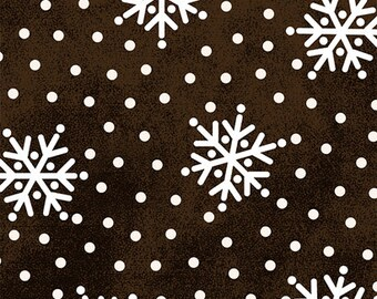 BTHY - Winter Folk FLANNEL by Bonnie Sullivan for Maywood Studios, Patt. #MASF8333-A, White Snowflakes and Dots on a Tonal Black, HALF Yard