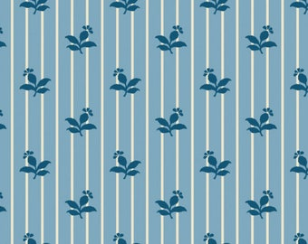 By The HALF YARD - Sara's Stash by Sara Morgan for Blue Hill Fabrics, Pattern #7410-7 Blue Flowers on Light Blue and White Stripe