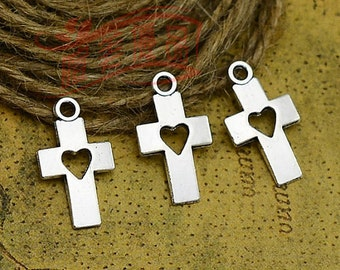 8 CROSS Charms Antique Silver Heart Charms Charm Bracelet Bangle Bracelet Pendants #269