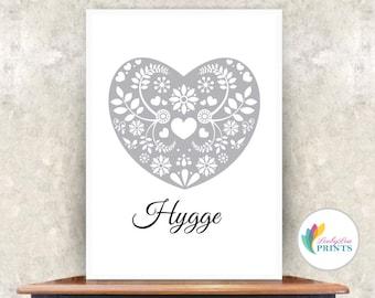 Hygge Heart Print  (grey) -  Scandi Style - Home Print - Heart Print