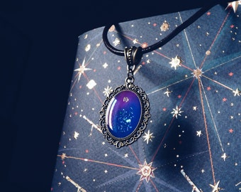 Virgo pendant, zodiac jewelry, astrological necklace with shining galaxy art for Astrology lovers