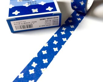 Blue Floral Washi Tape - Scandi Flowers Masking