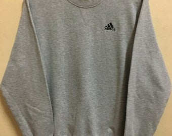 Vintage 90's Adidas Grey 3 Stripes Sport Classic Design Skate Sweat Shirt Sweater Varsity Jacket Size L #A703