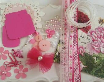 Scrapbook Kit - Mini Album Kit - Embellishment Kit - Stamens-Altered Art - Project Kit - Embellishment Kit - Paper Piecing-Pink Floral-MSP7