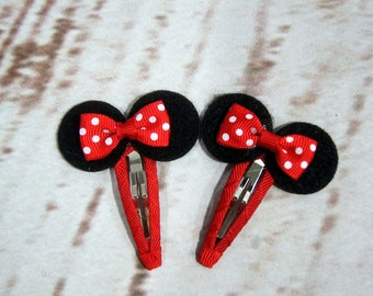 Minnie Mouse, Baby Hair Barrettes, Toddler Barrettes. First Birthday Girl. Present for Baby Shower. Baby and Toddler Clips