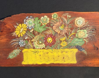 Folk art flower painting on old reclaimed wood, vintage, primitive, flowers, rustic, original art, cottage decor