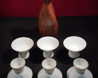 Six Vintage Japanese Porcelain Sawano Tsuro Saki Rice Wine Drinking Cups & Decanter 1950/60s