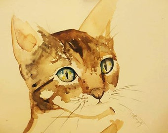 Tabby Cat Original Watercolor Painting *Free US Shipping*