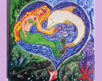 """Mermaid & Dolphin in Ocean Scene, """"Kindred Spirits"""" Combination Acrylic Painting + Canvas Print with glitter effect. PreOrder Christmas Gift"""