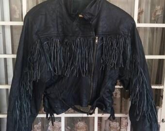 Vintage rare full Leather bikers jacket liked cowboy/harley davidson/with buckel belt