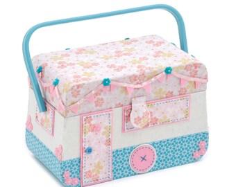 Applique Sewing Basket - Novelty Design: Caravan