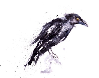 Raven No.1 - Signed Print of my original watercolour painting of a Raven