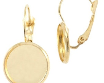Earrings for cabochon (12 mm) - gold - 20 mm / 12 mm