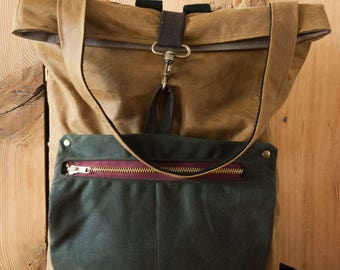 Traditional waxed canvas bag and backpack