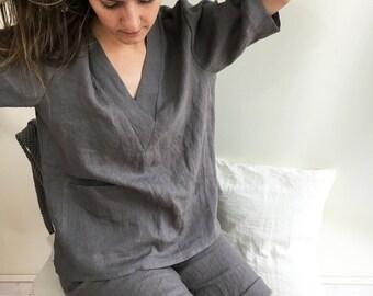 Womens pajamas, linen sleepwear, linen pajama set, pyjama linen, linen shorts women, linen lounge wear, linen womens sleepwear, linen night