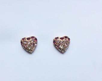 Swarovski crystal Earrings,  customized Clip on Earrings, heart earrings, Purple Heart stud