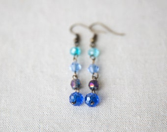 SALE *Blue glass bead earrings* 50% OFF
