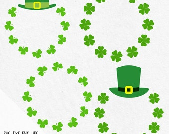 St Patrick's Day Monogram Svg, St Patricks monogram svg, Leprechaun svg, shamrock svg, Leprechaun hat svg, horseshoe svg, silhouette, cricut