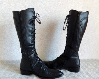 CYPRES Black Genuine Leather Under Knee Hight Women's Boots Lace Up Boots Zip Up Boots Low Heel Made In Italy EU 38 Vintage Tall Boots