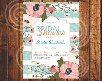 Bridal Shower Invitation, Vintage, Bridal, Pink,Blue.